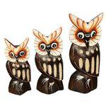 Square 150 ap12 trio corujas madeira artesanal animais decorativos bali indonesia artesintonia modelo03 2